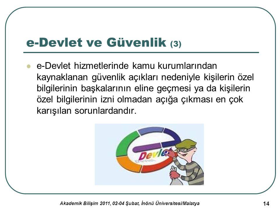 Akademik Bilişim 2011, 02-04 Şubat, İnönü Üniversitesi/Malatya 14 e-Devlet ve Güvenlik (3) e-Devlet hizmetlerinde kamu kurumlarından kaynaklanan güven