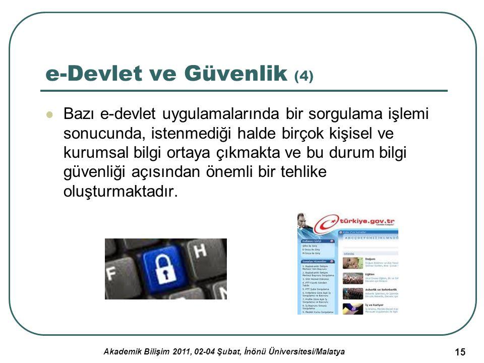 Akademik Bilişim 2011, 02-04 Şubat, İnönü Üniversitesi/Malatya 15 e-Devlet ve Güvenlik (4) Bazı e-devlet uygulamalarında bir sorgulama işlemi sonucund