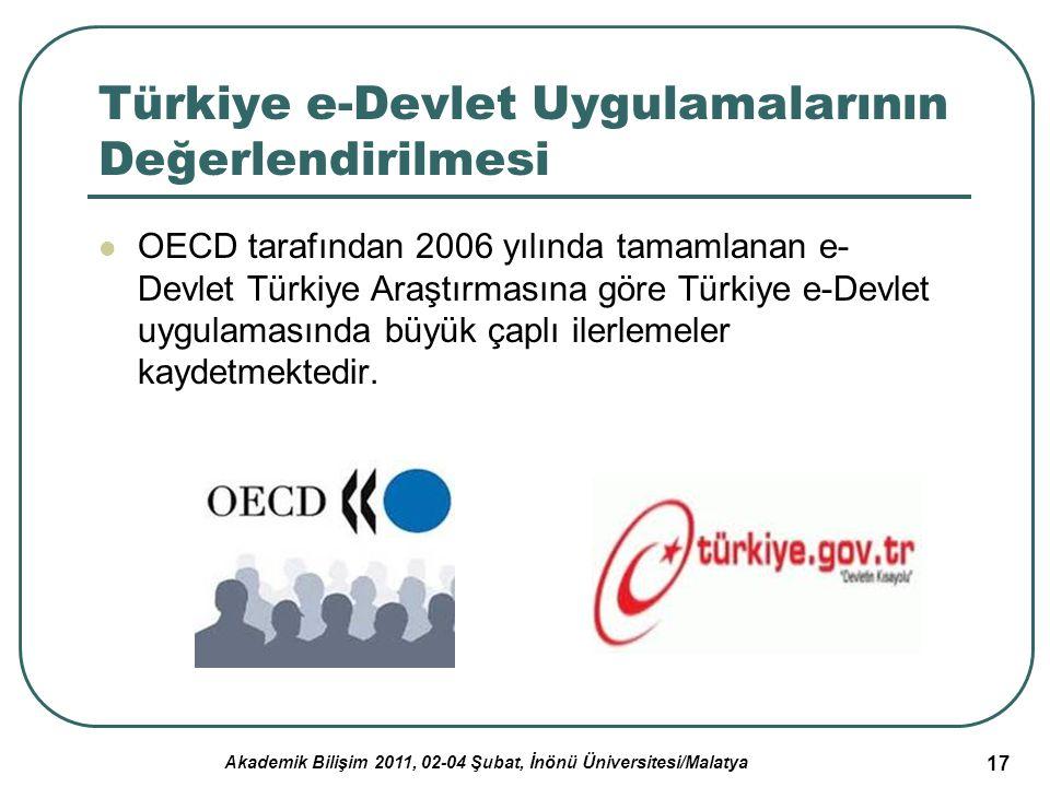 Akademik Bilişim 2011, 02-04 Şubat, İnönü Üniversitesi/Malatya 17 Türkiye e-Devlet Uygulamalarının Değerlendirilmesi OECD tarafından 2006 yılında tama