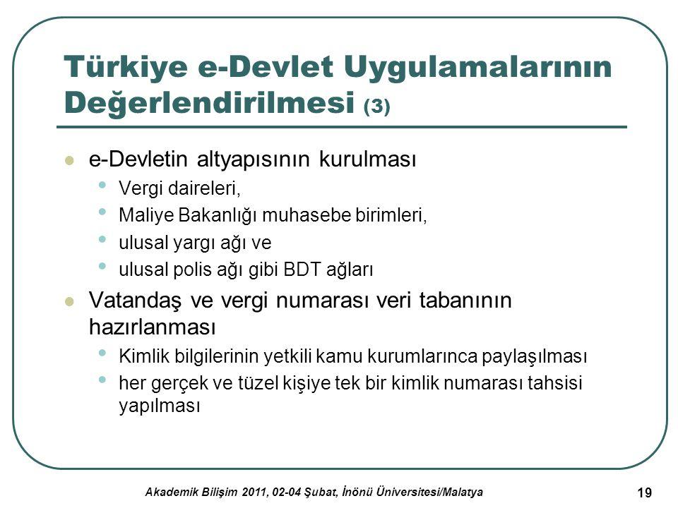 Akademik Bilişim 2011, 02-04 Şubat, İnönü Üniversitesi/Malatya 19 Türkiye e-Devlet Uygulamalarının Değerlendirilmesi (3) e-Devletin altyapısının kurul