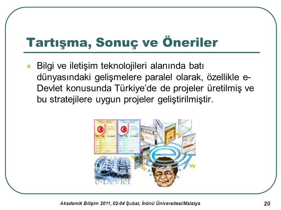 Akademik Bilişim 2011, 02-04 Şubat, İnönü Üniversitesi/Malatya 20 Tartışma, Sonuç ve Öneriler Bilgi ve iletişim teknolojileri alanında batı dünyasında