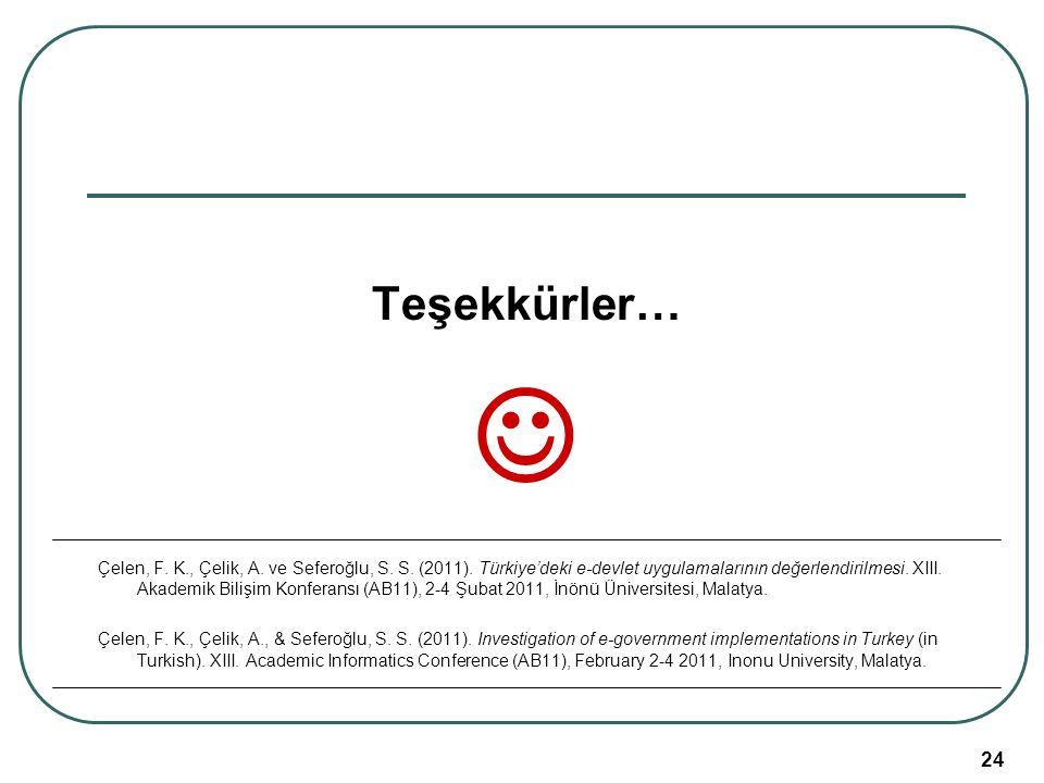 Akademik Bilişim 2011, 02-04 Şubat, İnönü Üniversitesi/Malatya 24 Teşekkürler… Çelen, F. K., Çelik, A. ve Seferoğlu, S. S. (2011). Türkiye'deki e-devl
