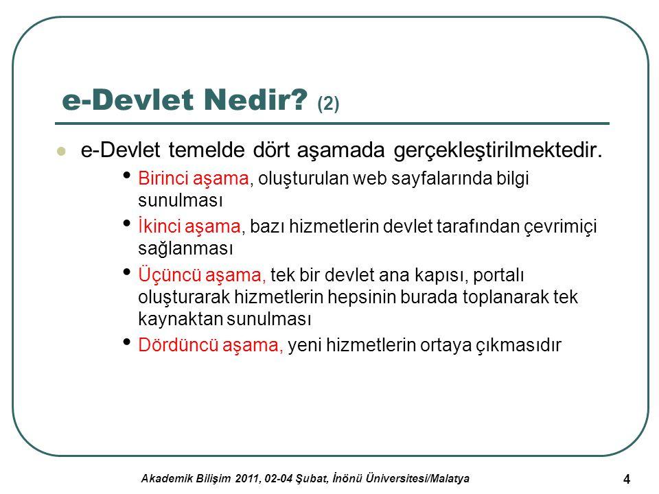 Akademik Bilişim 2011, 02-04 Şubat, İnönü Üniversitesi/Malatya 4 e-Devlet Nedir? (2) e-Devlet temelde dört aşamada gerçekleştirilmektedir. Birinci aşa