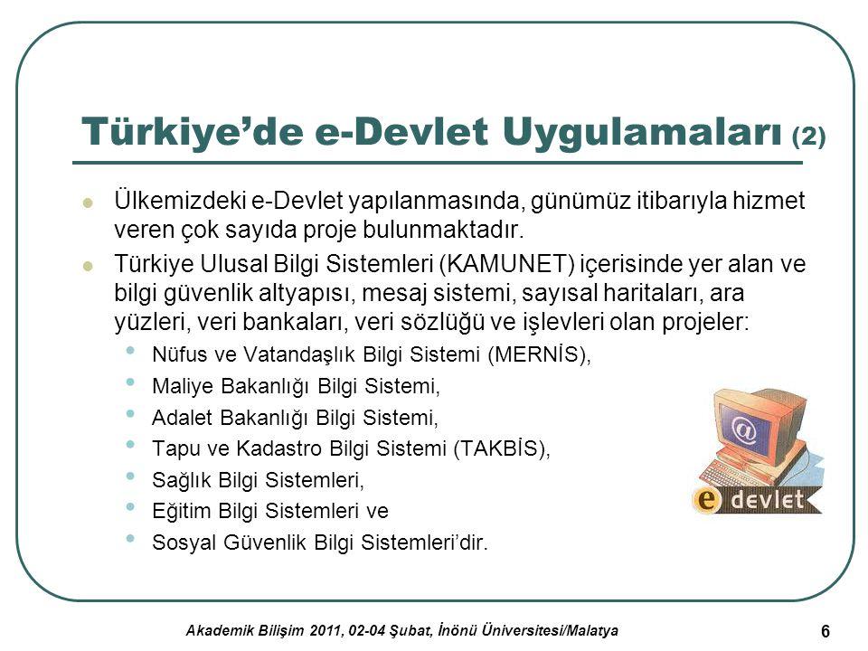 Akademik Bilişim 2011, 02-04 Şubat, İnönü Üniversitesi/Malatya 6 Türkiye'de e-Devlet Uygulamaları (2) Ülkemizdeki e-Devlet yapılanmasında, günümüz iti