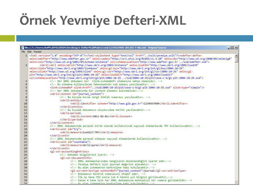 Örnek Yevmiye Defteri-XML