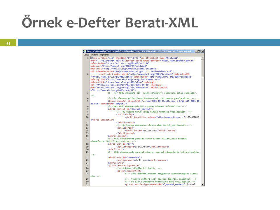 Örnek e-Defter Beratı-XML 33