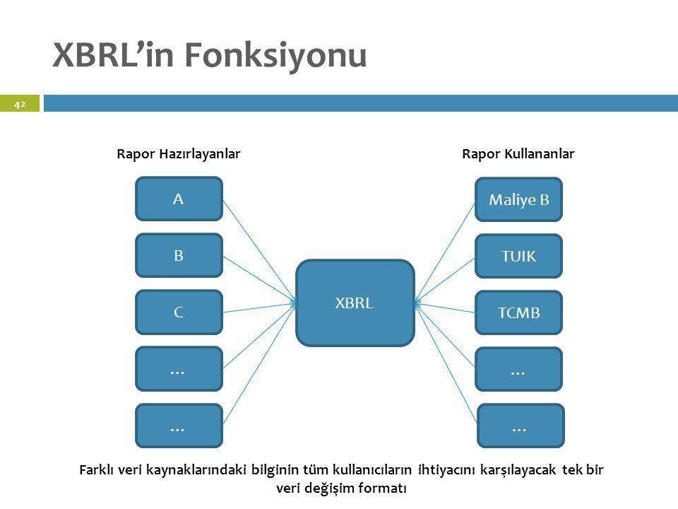XBRL'in Fonksiyonu A Maliye B TUIK TCMB … … B C … … Rapor HazırlayanlarRapor Kullananlar XBRL Farklı veri kaynaklarındaki bilginin tüm kullanıcıların