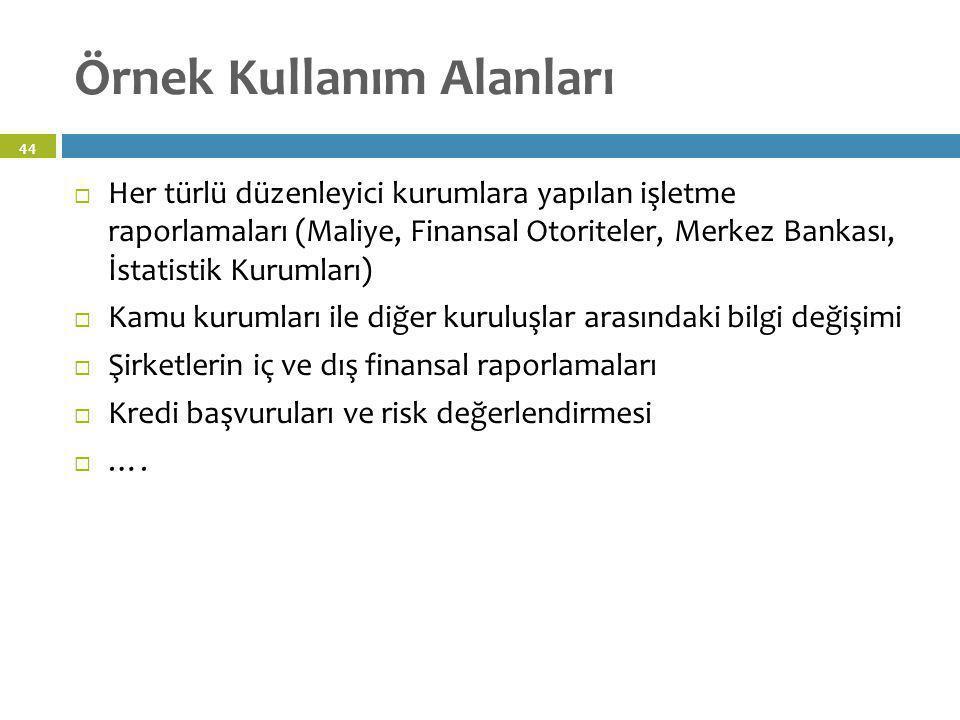 Örnek Kullanım Alanları  Her türlü düzenleyici kurumlara yapılan işletme raporlamaları (Maliye, Finansal Otoriteler, Merkez Bankası, İstatistik Kurum