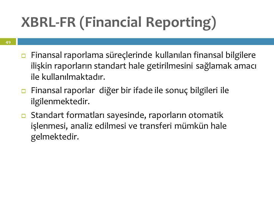 XBRL-FR (Financial Reporting)  Finansal raporlama süreçlerinde kullanılan finansal bilgilere ilişkin raporların standart hale getirilmesini sağlamak
