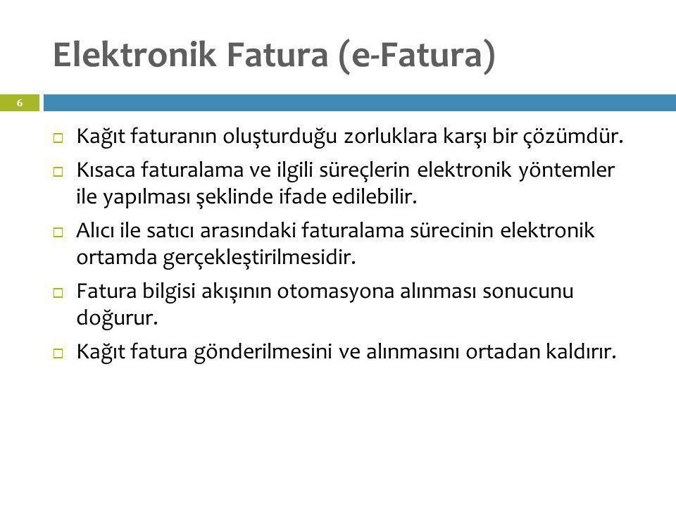 Elektronik Fatura (e-Fatura) 6  Kağıt faturanın oluşturduğu zorluklara karşı bir çözümdür.  Kısaca faturalama ve ilgili süreçlerin elektronik yöntem