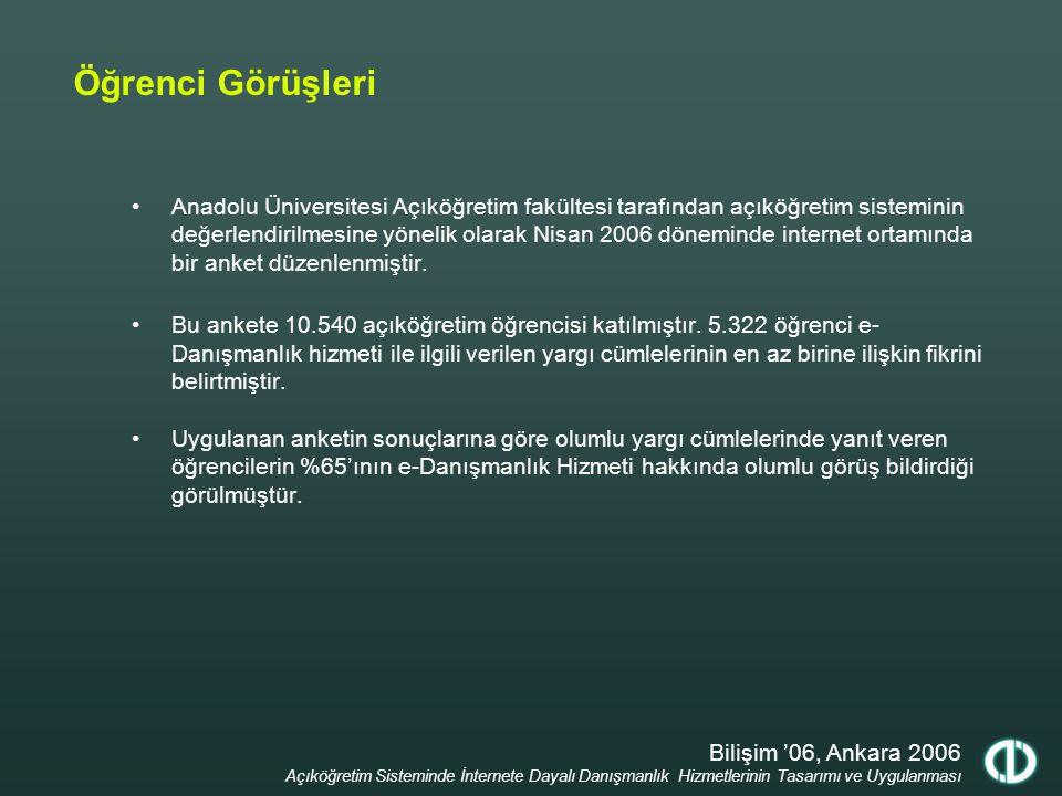 Bilişim '06, Ankara 2006 Açıköğretim Sisteminde İnternete Dayalı Danışmanlık Hizmetlerinin Tasarımı ve Uygulanması Öğrenci Görüşleri Anadolu Üniversit