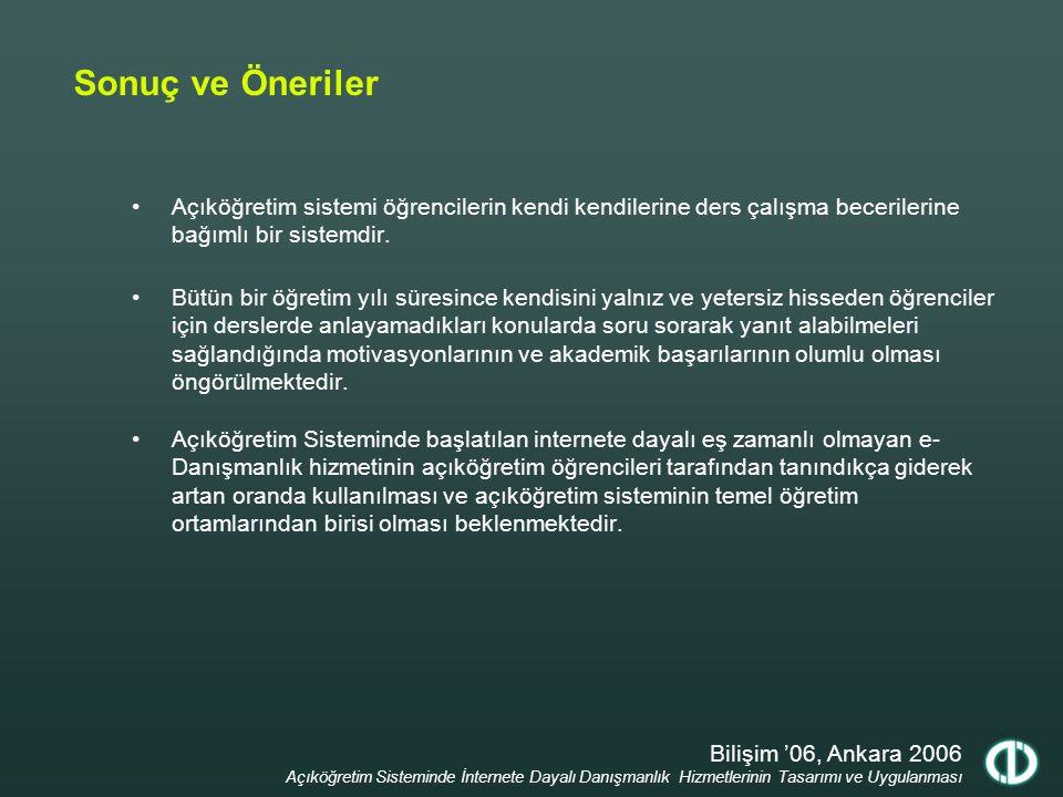 Bilişim '06, Ankara 2006 Açıköğretim Sisteminde İnternete Dayalı Danışmanlık Hizmetlerinin Tasarımı ve Uygulanması Sonuç ve Öneriler Açıköğretim siste