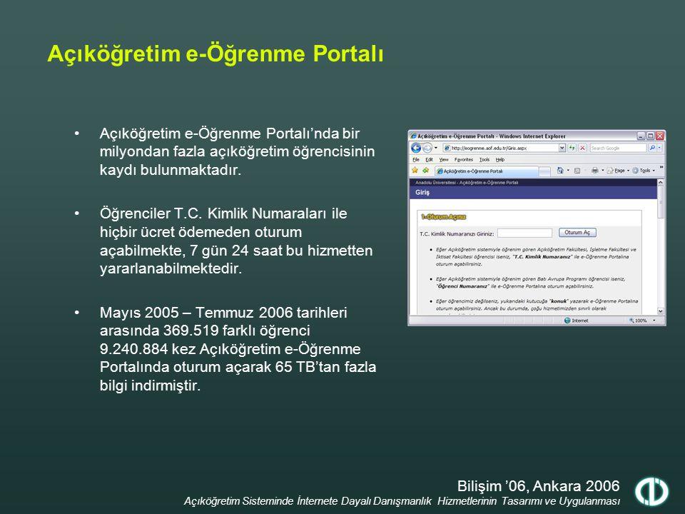 Bilişim '06, Ankara 2006 Açıköğretim Sisteminde İnternete Dayalı Danışmanlık Hizmetlerinin Tasarımı ve Uygulanması Açıköğretim e-Öğrenme Portalı e-Kitap uygulaması kapsamında şu an 211 derse ait 2724 ünite internet ortamından dağıtılmaktadır.