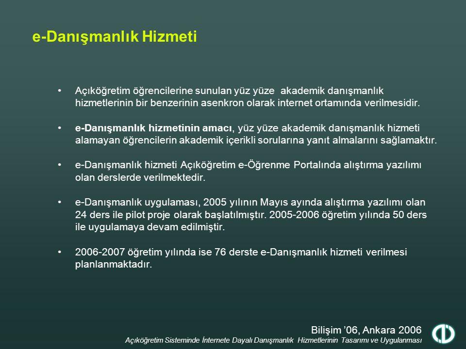 Bilişim '06, Ankara 2006 Açıköğretim Sisteminde İnternete Dayalı Danışmanlık Hizmetlerinin Tasarımı ve Uygulanması e-Danışmanlık Hizmeti Açıköğretim ö