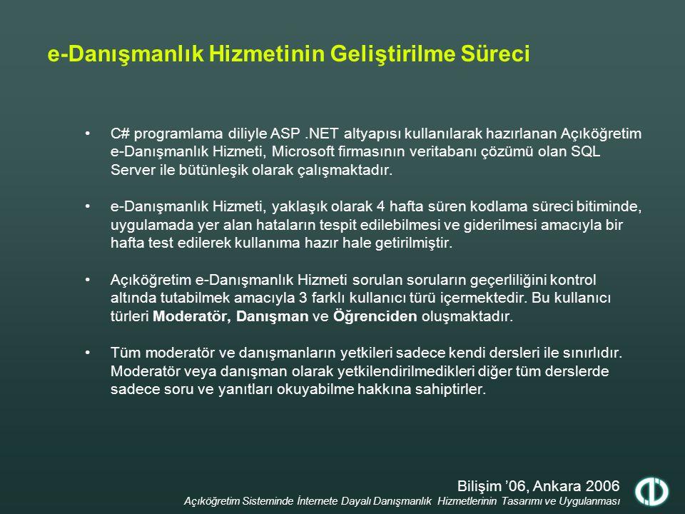Bilişim '06, Ankara 2006 Açıköğretim Sisteminde İnternete Dayalı Danışmanlık Hizmetlerinin Tasarımı ve Uygulanması e-Danışmanlık Hizmetinin Uygulanması Açıköğretim e-Öğrenme Portalında alıştırma yazılımı bulunan her dersin bir akademik danışmanı ve bir moderatörü bulunmaktadır.