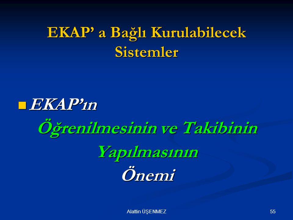 55Alattin ÜŞENMEZ EKAP' a Bağlı Kurulabilecek Sistemler EKAP'ın EKAP'ın Öğrenilmesinin ve Takibinin YapılmasınınÖnemi
