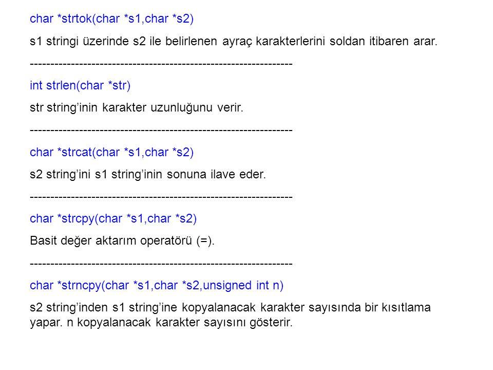 char *strtok(char *s1,char *s2) s1 stringi üzerinde s2 ile belirlenen ayraç karakterlerini soldan itibaren arar. -------------------------------------