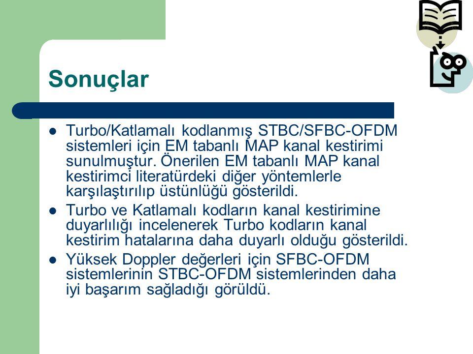 Sonuçlar Turbo/Katlamalı kodlanmış STBC/SFBC-OFDM sistemleri için EM tabanlı MAP kanal kestirimi sunulmuştur. Önerilen EM tabanlı MAP kanal kestirimci