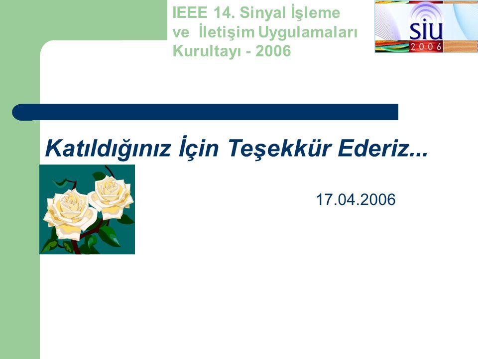 Katıldığınız İçin Teşekkür Ederiz... IEEE 14. Sinyal İşleme ve İletişim Uygulamaları Kurultayı - 2006 17.04.2006