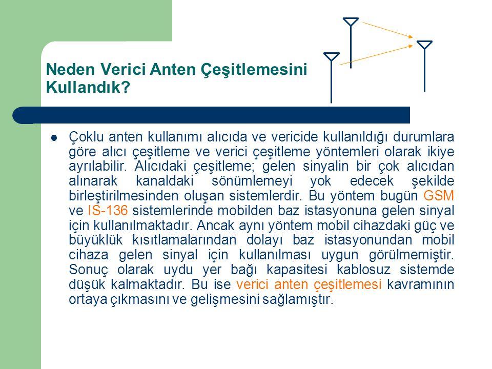 Neden Verici Anten Çeşitlemesini Kullandık? Çoklu anten kullanımı alıcıda ve vericide kullanıldığı durumlara göre alıcı çeşitleme ve verici çeşitleme