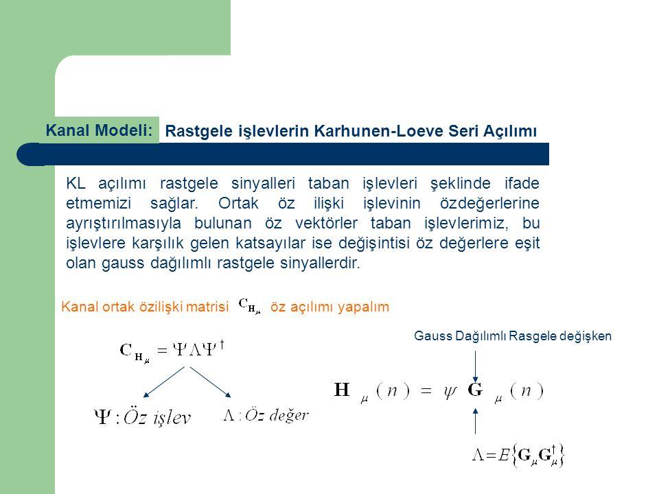 Kanal Modeli: KL açılımı rastgele sinyalleri taban işlevleri şeklinde ifade etmemizi sağlar. Ortak öz ilişki işlevinin özdeğerlerine ayrıştırılmasıyla