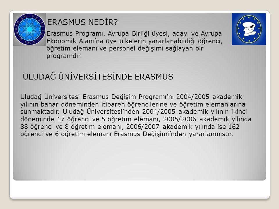 ERASMUS NEDİR? Erasmus Programı, Avrupa Birliği üyesi, adayı ve Avrupa Ekonomik Alanı'na üye ülkelerin yararlanabildiği öğrenci, öğretim elemanı ve pe