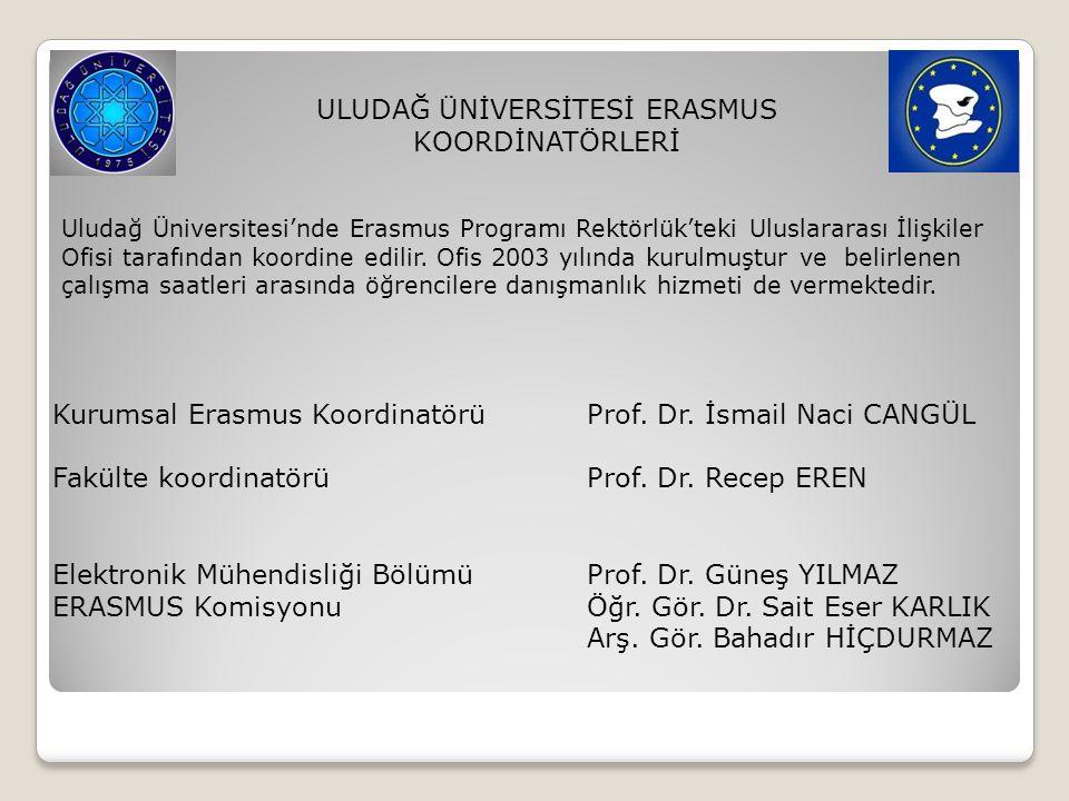 ULUDAĞ ÜNİVERSİTESİ ERASMUS KOORDİNATÖRLERİ Uludağ Üniversitesi'nde Erasmus Programı Rektörlük'teki Uluslararası İlişkiler Ofisi tarafından koordine e