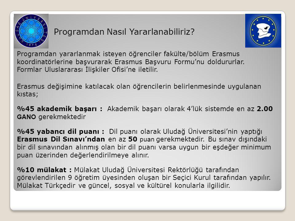 Programdan Nasıl Yararlanabiliriz? Programdan yararlanmak isteyen öğrenciler fakülte/bölüm Erasmus koordinatörlerine başvurarak Erasmus Başvuru Formu'