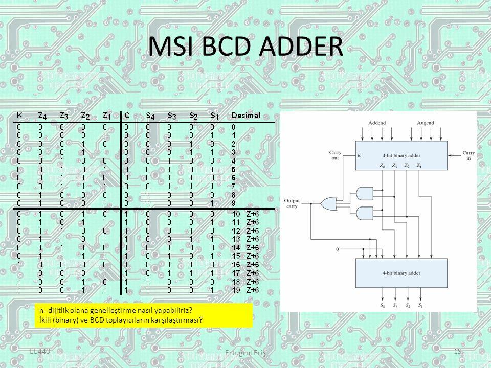 MSI BCD ADDER EE440 Ertuğrul Eriş 19 n- dijitlik olana genelleştirme nasıl yapabiliriz? İkili (binary) ve BCD toplayıcıların karşılaştırması?
