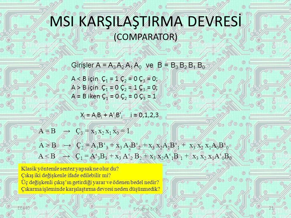 MSI KARŞILAŞTIRMA DEVRESİ (COMPARATOR) EE440 Ertuğrul Eriş 21 Girişler A = A 3 A 2 A 1 A 0 ve B = B 3 B 2 B 1 B 0 A < B için Ç 1 = 1 Ç 2 = 0 Ç 3 = 0; A > B için Ç 1 = 0 Ç 2 = 1 Ç 3 = 0; A = B iken Ç 1 = 0 Ç 2 = 0 Ç 3 = 1 X i = A i B i + A i B i i = 0,1,2,3 A = B → Ç 3 = x 3 x 2 x 1 x 0 = 1 A < B → Ç 1 = A' 3 B 3 + x 3 A' 2 B 2 + x 3 x 2 A' 1 B 1 + x 3 x 2 x 1 A' 0 B 0 A > B → Ç 2 = A 3 B' 3 + x 3 A 2 B' 2 + x 3 x 2 A 1 B' 1 + x 3 x 2 x 1 A 0 B' 0 Klasik yöntemle sentez yapsak ne olur du.