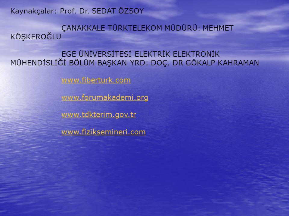 Kaynakçalar: Prof. Dr. SEDAT ÖZSOY ÇANAKKALE TÜRKTELEKOM MÜDÜRÜ: MEHMET KÖŞKEROĞLU EGE ÜNİVERSİTESİ ELEKTRİK ELEKTRONİK MÜHENDİSLİĞİ BÖLÜM BAŞKAN YRD: