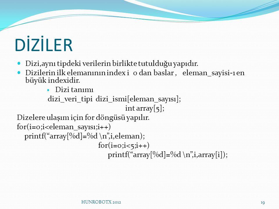 DİZİLER Dizi,aynı tipdeki verilerin birlikte tutulduğu yapıdır. Dizilerin ilk elemanının index i 0 dan baslar, eleman_sayisi-1 en büyük indexidir. Diz