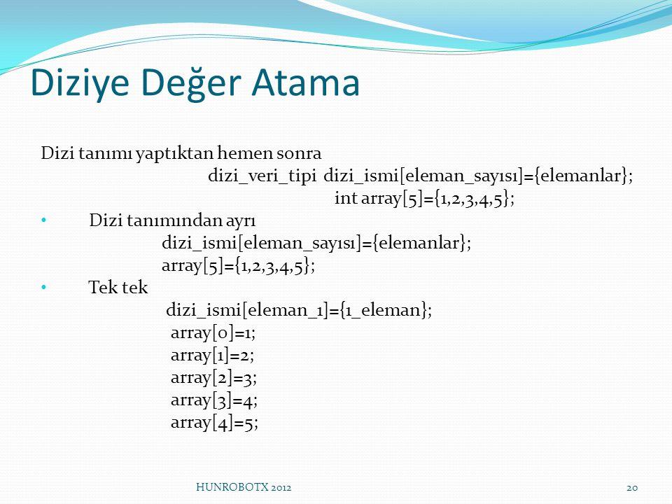 Diziye Değer Atama Dizi tanımı yaptıktan hemen sonra dizi_veri_tipi dizi_ismi[eleman_sayısı]={elemanlar}; int array[5]={1,2,3,4,5}; Dizi tanımından ay