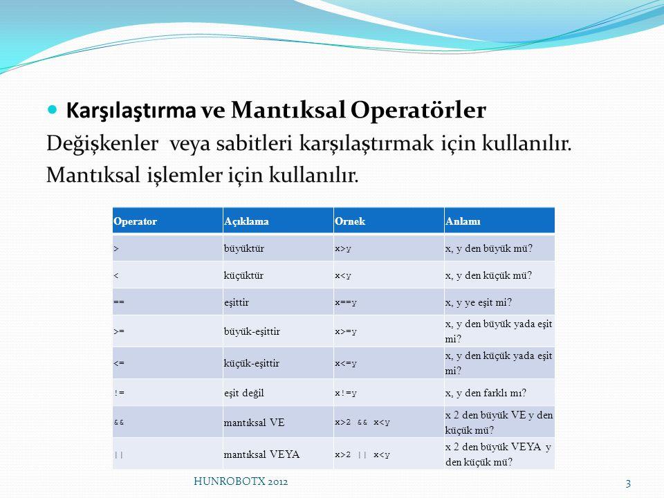 Karşılaştırma ve Mantıksal Operatörler Değişkenler veya sabitleri karşılaştırmak için kullanılır. Mantıksal işlemler için kullanılır. OperatorAçıklama
