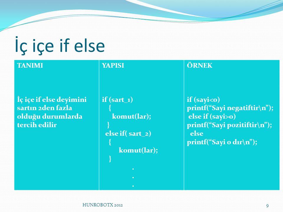İç içe if else TANIMI İç içe if else deyimini sartın 2den fazla olduğu durumlarda tercih edilir YAPISI if (sart_1) { komut(lar); } else if( sart_2) {