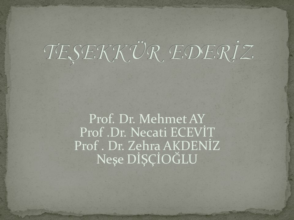 Prof. Dr. Mehmet AY Prof.Dr. Necati ECEVİT Prof. Dr. Zehra AKDENİZ Neşe DİŞÇİOĞLU