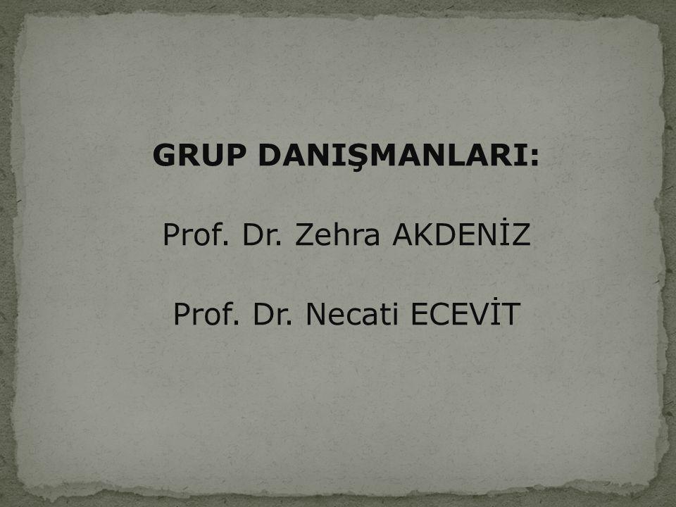 GRUP DANIŞMANLARI: Prof. Dr. Zehra AKDENİZ Prof. Dr. Necati ECEVİT