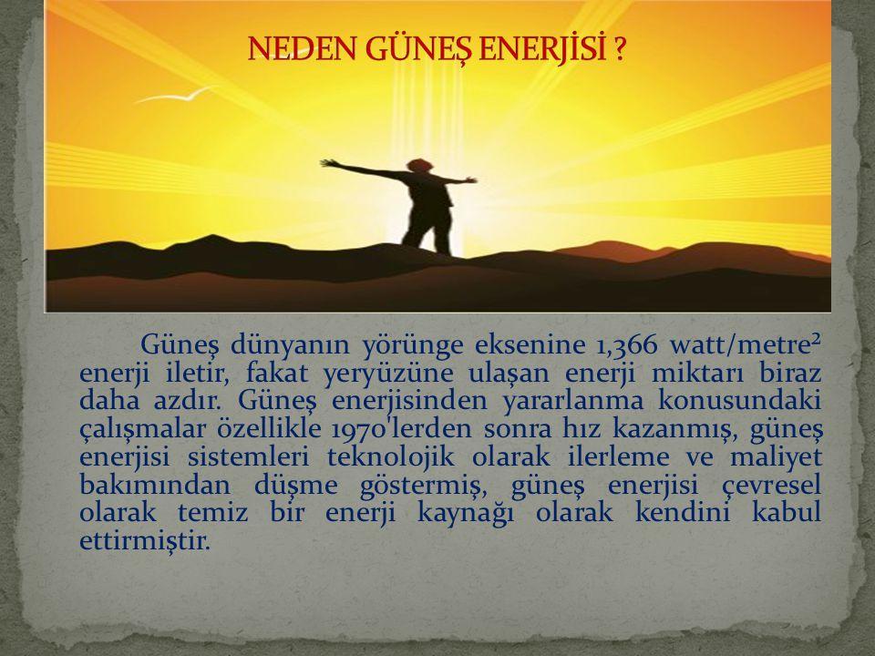 Güneş dünyanın yörünge eksenine 1,366 watt/metre² enerji iletir, fakat yeryüzüne ulaşan enerji miktarı biraz daha azdır.