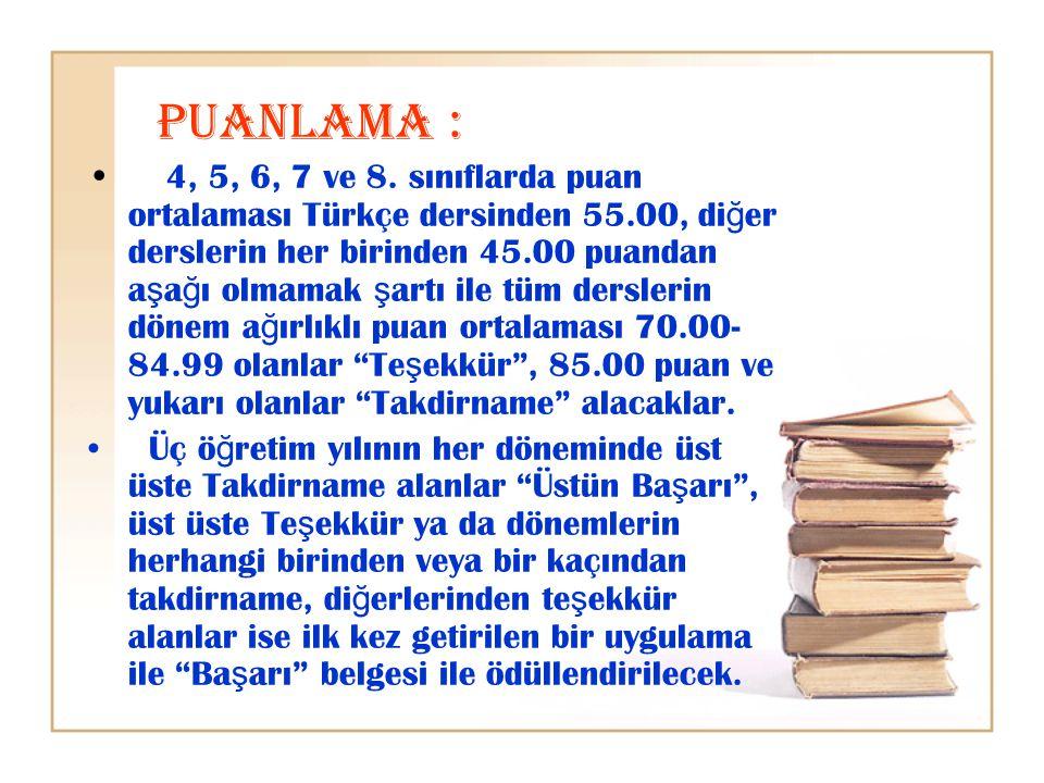 PUANLAMA : 4, 5, 6, 7 ve 8. sınıflarda puan ortalaması Türkçe dersinden 55.00, di ğ er derslerin her birinden 45.00 puandan a ş a ğ ı olmamak ş artı i