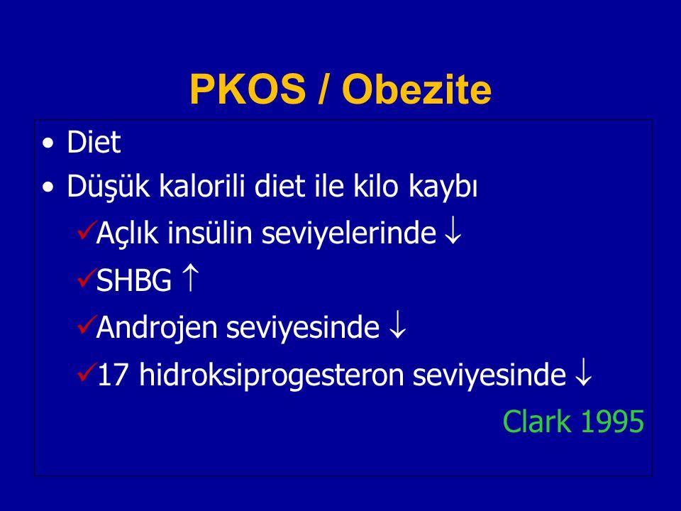 PKOS / Obezite Diet Düşük kalorili diet ile kilo kaybı Açlık insülin seviyelerinde  SHBG  Androjen seviyesinde  17 hidroksiprogesteron seviyesinde