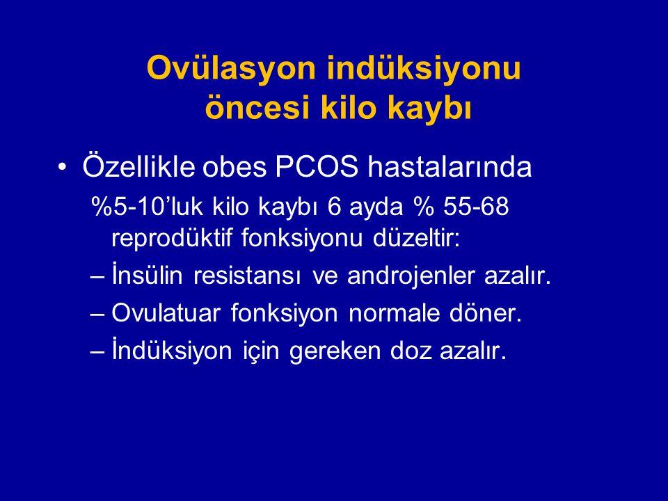 Ovülasyon indüksiyonu öncesi kilo kaybı Özellikle obes PCOS hastalarında %5-10'luk kilo kaybı 6 ayda % 55-68 reprodüktif fonksiyonu düzeltir: –İnsülin