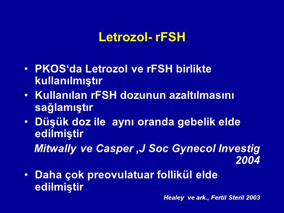 Letrozol- rFSH PKOS'da Letrozol ve rFSH birlikte kullanılmıştır Kullanılan rFSH dozunun azaltılmasını sağlamıştır Düşük doz ile aynı oranda gebelik el