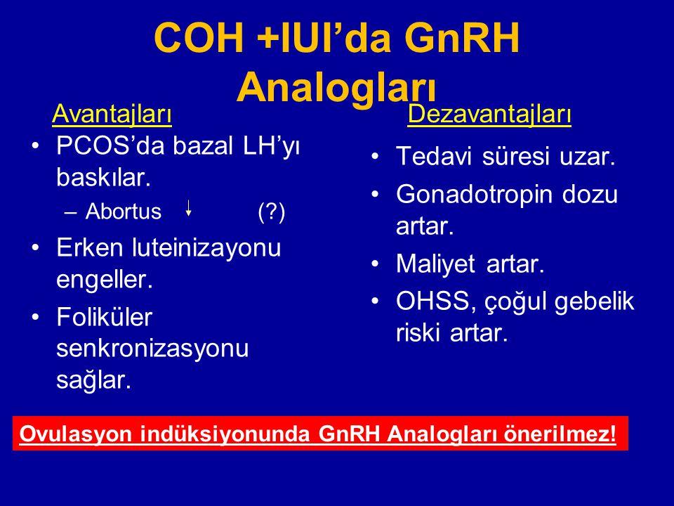 COH +IUI'da GnRH Analogları PCOS'da bazal LH'yı baskılar. –Abortus (?) Erken luteinizayonu engeller. Foliküler senkronizasyonu sağlar. Tedavi süresi u