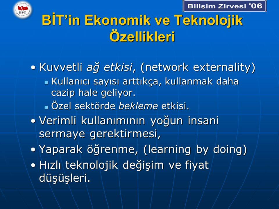 BİT'in Ekonomik ve Teknolojik Özellikleri Kuvvetli ağ etkisi, (network externality)Kuvvetli ağ etkisi, (network externality) Kullanıcı sayısı arttıkça, kullanmak daha cazip hale geliyor.