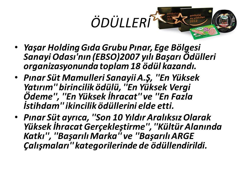 ÖDÜLLERİ Yaşar Holding Gıda Grubu Pınar, Ege Bölgesi Sanayi Odası'nın (EBSO)2007 yılı Başarı Ödülleri organizasyonunda toplam 18 ödül kazandı. Pınar S