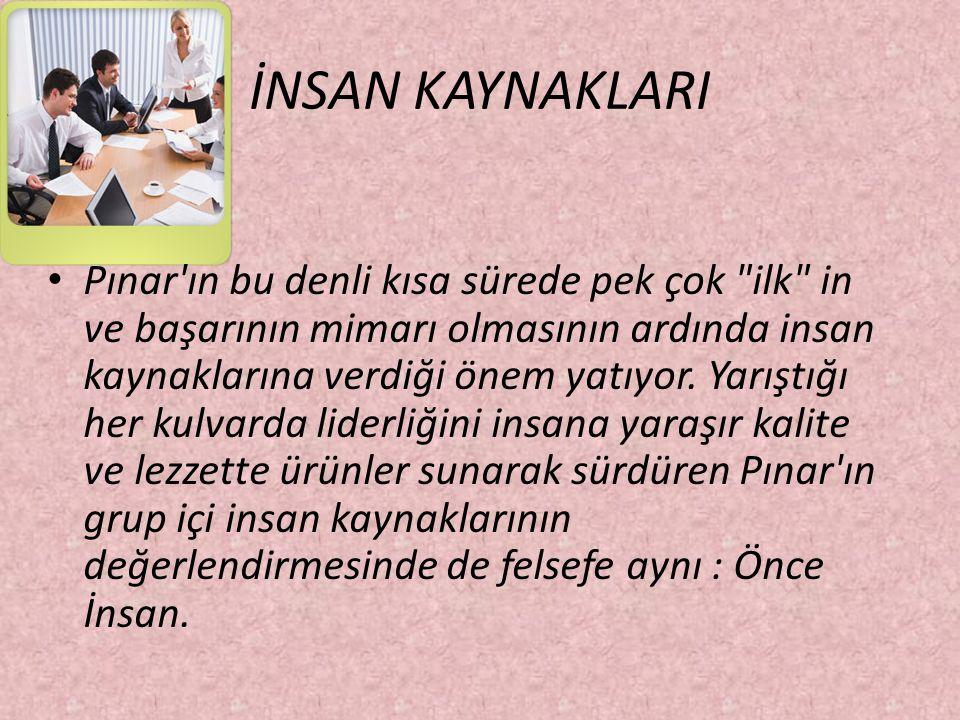 İNSAN KAYNAKLARI Pınar'ın bu denli kısa sürede pek çok