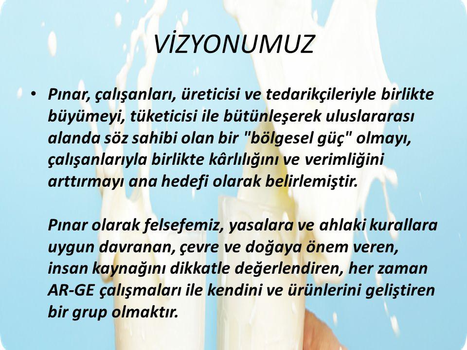 VİZYONUMUZ Pınar, çalışanları, üreticisi ve tedarikçileriyle birlikte büyümeyi, tüketicisi ile bütünleşerek uluslararası alanda söz sahibi olan bir