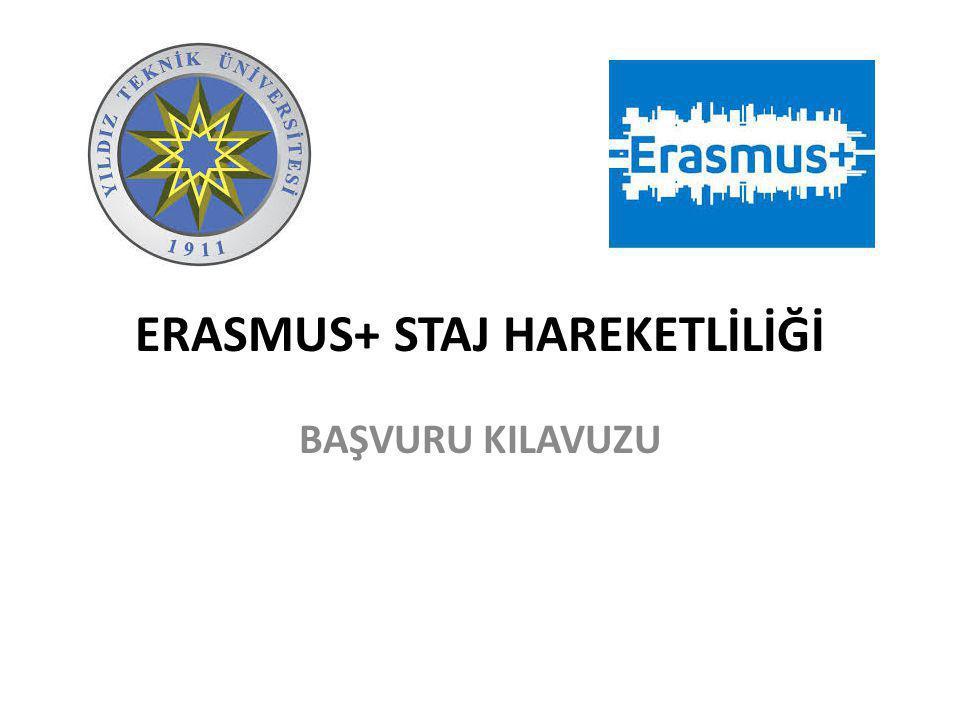 ERASMUS+ STAJ HAREKETLİLİĞİ BAŞVURU KILAVUZU