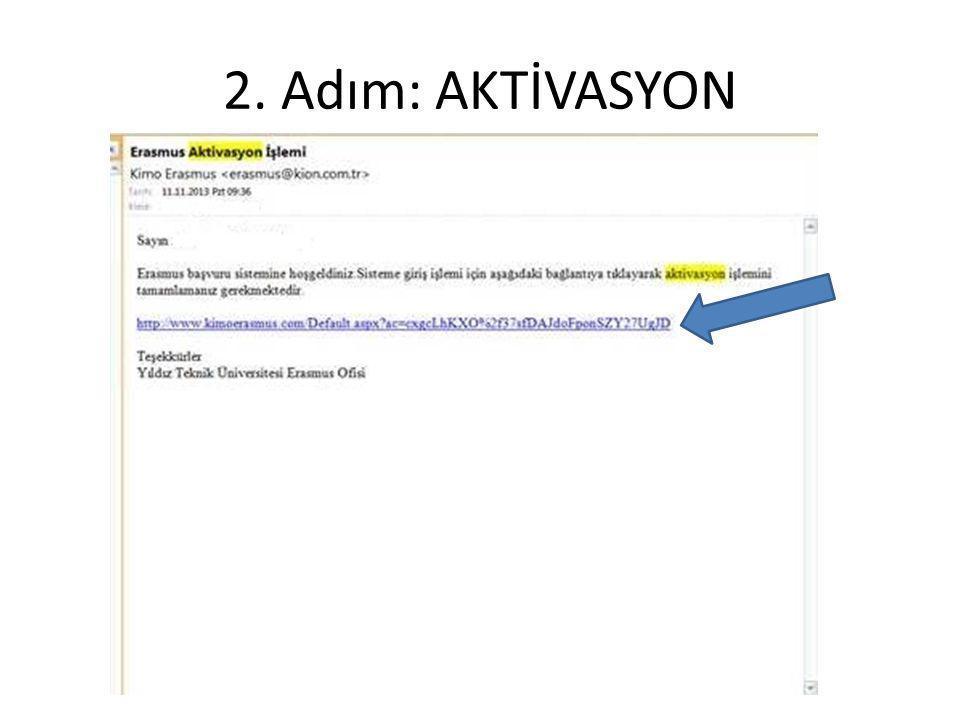 2. Adım: AKTİVASYON