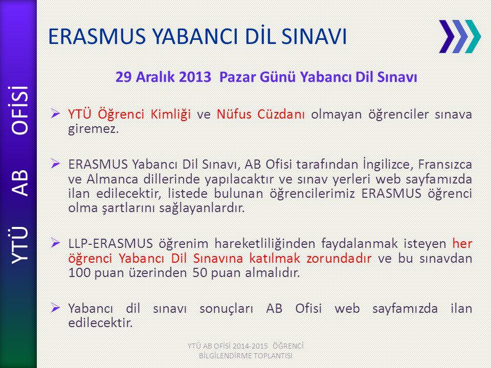 YTÜ AB OFİSİ ERASMUS YABANCI DİL SINAVI 29 Aralık 2013 Pazar Günü Yabancı Dil Sınavı  YTÜ Öğrenci Kimliği ve Nüfus Cüzdanı olmayan öğrenciler sınava